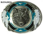 South West Wolf Head Belt Buckle with display stand